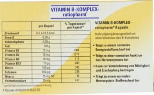nahrungsergänzungsmittel vitamin b komplex